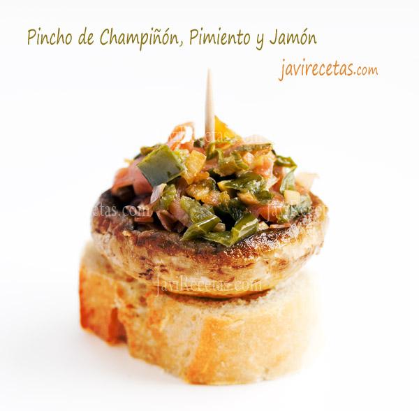 Pincho de Champiñón, Pimiento y Jamón