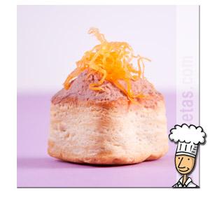 Volován relleno de Paté y Huevo Hilado