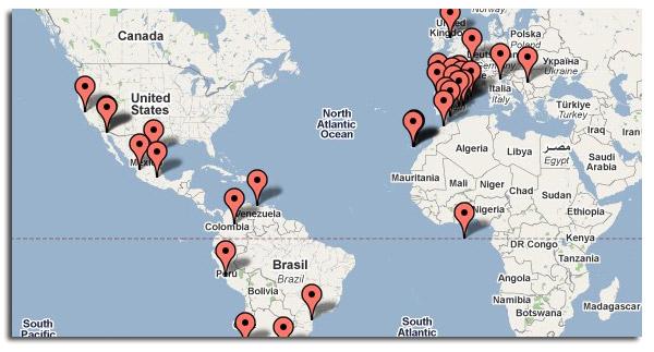 Mapa Visitas a JaviRecetas.com