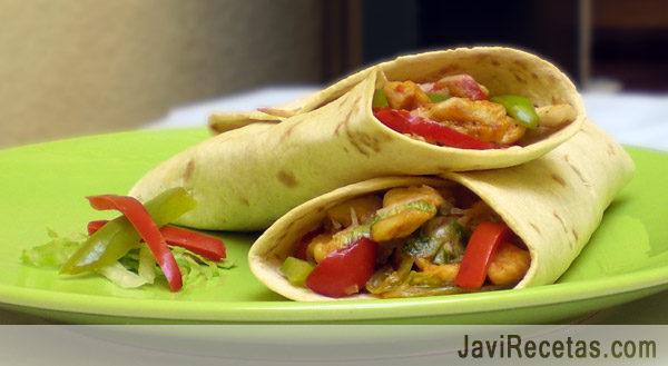 Fajitas. Fajitas de Pollo Mexicanas