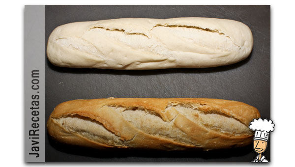 Pan de ajo sin hornear y horneado
