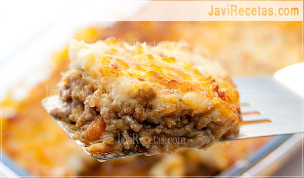 Pastel de carne y patatas receta casera javi recetas - Que cocinar con carne picada ...