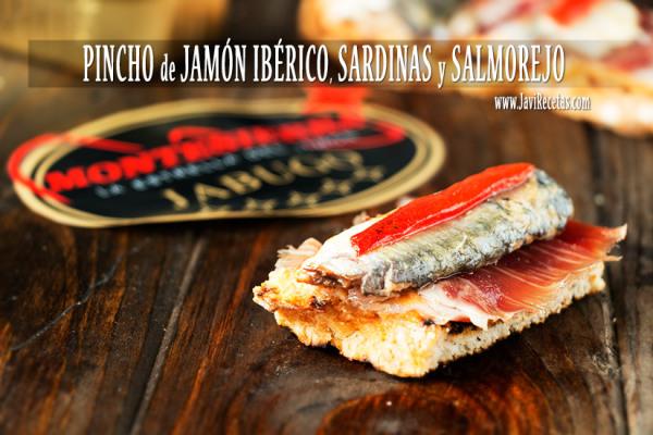 Pincho de Jamón Ibérico, Sardinas y Salmorejo