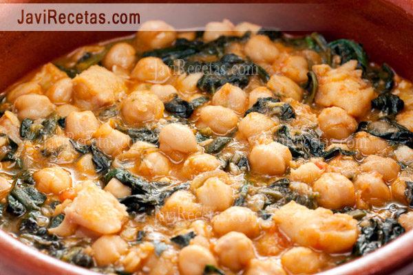 Garbanzos con acelgas for Cocinar espinacas