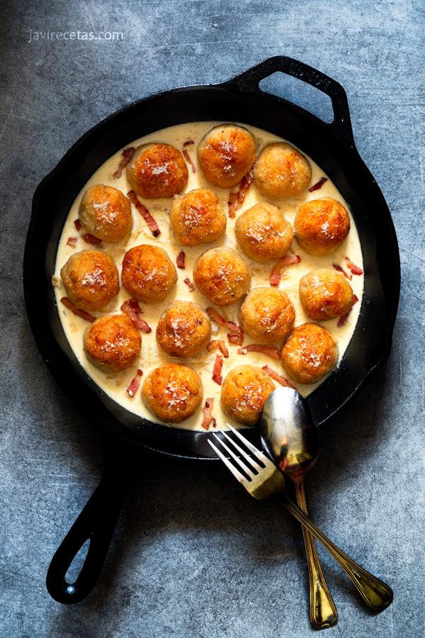 Albóndigas de Pollo a la Carbonara